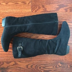 [MUST GO] Black Suede Calf Boots
